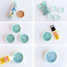 your first step is to spray paint your coasters and let them dry next take your decorative filler and fill your coasters you just want to use a thin