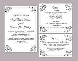 diy wedding invitation template. diy wedding invitation template set editable word file instant download printable black elegant diy w