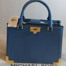 nwt michael kors leather kinsley french blue incl free dust bag retails 498 00