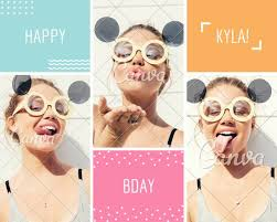 Birthday Card Photo Collage Templates By Canva