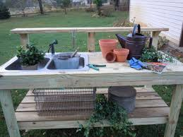 outdoor work table with sink designs