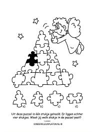 Kleurplaat Kerstengel Puzzelstuk Feestdagen