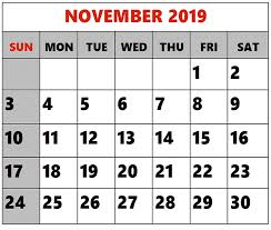 November 2019 Calendar Printable Monthly Editable Planner