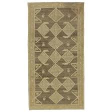 vintage turkish oushak gallery rug with earth tones and