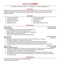 Security Guard Resume Example 68 Images Security Officer Resume