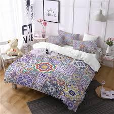 ethnic colorful comforter bedding sets plaid duvet cover set queen bohemia king size bedding set 3d home textile bed linen green duvet cover white duvet