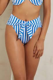 Onia X Weworewhat Cabana Stripe Riviera Hi Waist Bikini Bottom