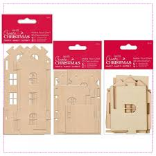 tall medium and small wooden house make your own 3d decoration bundle