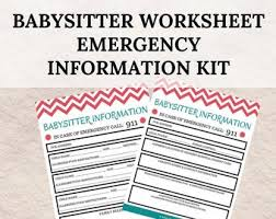 Babysitter Information Sheets Babysitter Guide Etsy
