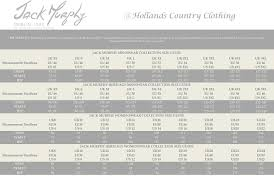 Uk Apparel Size Chart Jack Murphy Clothing Size Chart At Hollands Country