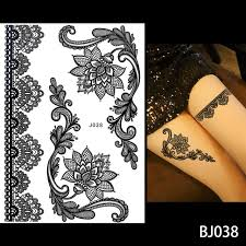 Us 078 30 Off1pc Fashion Flash Waterproof Tattoo Women Black Ink Henna Jewel Sexy Lace Bj019 Flower Pendant Wed Henna Temporary Tattoo Stick In