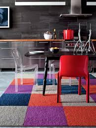 colorful carpet tiles in kitchen