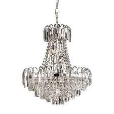 endon 96826 ch amadis 6 light chrome finish glass chandelier