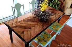 make this herringbon table top with tapered wooden legs and reality daydream