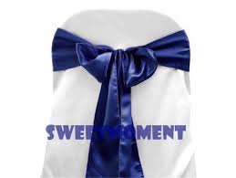 100 navy blue premium satin chair sash knotbow chair cover ribbon for wedding chair ribbon decoration