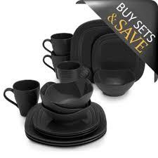 black dinnerware sets. Brilliant Black Mikasa Swirl 16Piece Square Dinnerware Set In Black With Sets C