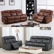 details about azure luxury leather recliner sofa set tan brown grey