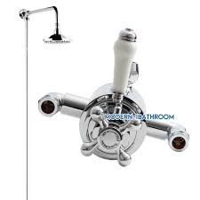 details about traditional thermostatic twinlever diverter exposed shower mixer valve victorian
