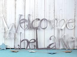 welcome to the lake metal wall decor lake house decor metal wall art