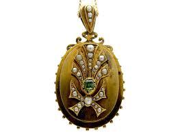 victorian emerald pearl gold locket