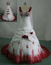 Red Wedding Dresses White Wedding Gown With Red Roses On The