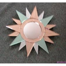 small art deco star shaped mirror with peach green and clear glass deco dave