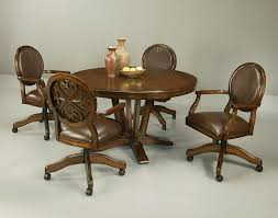 wheels kitchen chairs oak dining room casters swivel tilt dining set with a beautiful wood and metal bination available at