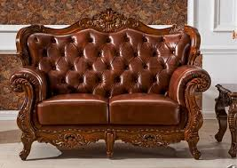 italy leather with hand carving solid wood 3 piece sofa set larger image