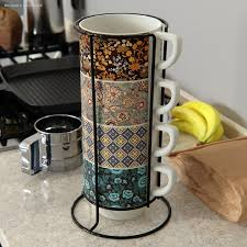 Find many great new & used options and get the best deals for world market 6 stacking cups coffee mugs with metal holding rack colorful at the best online prices at ebay! Modele 3d De Set Of Stacking Coffee Mugs With Metal Rack Turbosquid 1592394