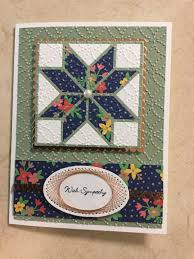 die cut quilt block with fabric print look patches . string art border on  oval sentiment tag . Stampin' Up!