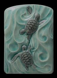 ceramic tiles art ocean. Delighful Ceramic Ceramic Sea Turtles Twins Sculpted Tile 4x By MedicineBluffStudio 3800  When The Baby Sea Finally Reach Ocean It Becomes A Mad Swimming  Intended Tiles Art Ocean I