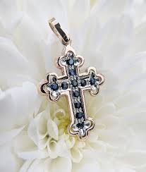 vintage inspired 9ct rose gold orthodox cross with diamond ruby or sapphire