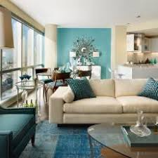 Modern Open-Concept Living Room With Aqua Decor