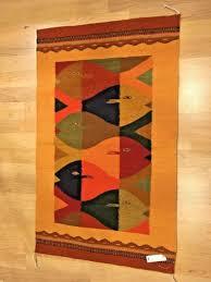 mexican folk art zapotec indian 100 wool rug loom hand woven fish 23 x 38