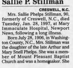 Obituary for Sallie Phelps Stillman, 1906-1997 (Aged 90) - Newspapers.com