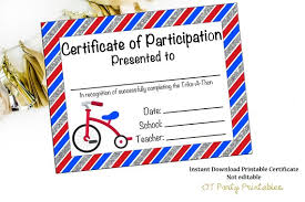 Fun Run Certificate Template Instant Download Trike A Thon Certificate Kid Fun Run