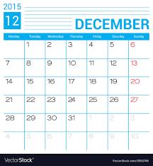 2015 Calendar Page December 2015 Calendar Page Template Royalty Free Vector