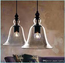 bell pendant new antique vintage style glass shade ceiling light bell pendant light retro chandelier glass pendant clear textured glass bell pendant light