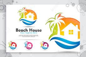 Beach House Logo Design Beach House Vector Logo With Modern Concept Design Illustration