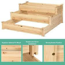 dia natural wooden garden raised bed
