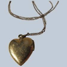heart locket pendant chain 12k gold