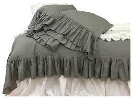 dark grey linen duvet cover with