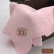 Monogrammed Pink Baby Quilt | Baby Milano & Monogrammed Pink Baby Quilt Adamdwight.com