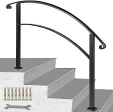 1,645 outdoor iron stair railings products are offered for sale by suppliers on alibaba.com, of which balustrades & handrails accounts for 44%, steel rails accounts for 1%. Happybuy 4 Step Handrail Fits 1 Or 4 Steps Matte Black Stair Rail Wrought Iron Handrail With Installation Kit Hand Rails For Outdoor Steps Amazon Com