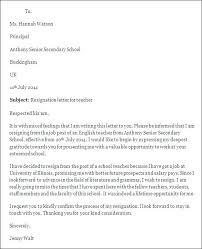 Resignation Letter Sample Teacher Fresh 6 Of Format For School Due