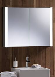 led illuminated bathroom mirror cabinet with wire free demister heat pad shaver and sensor switch