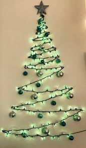 christmas tree on wall. Brilliant Christmas Wall Christmas Tree Made Of Green Lights Clear Command Strip Hooks A  Topper And Shatterproof Ornaments Great For Small Apartments Throughout Tree On M