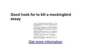 good hook for to kill a mockingbird essay google docs