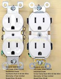 electrical outlets side wire versus back wire leviton electrical receptacles model 5320 wcp and 5252 w