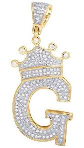 initial letter g crown diamond custom pendant in 10k yellow gold over 0 31 ct